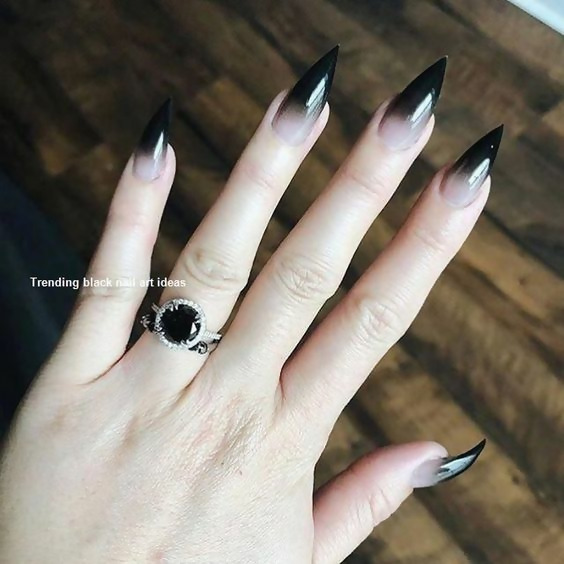 30 Creative Black Acrylic Nails Design Ideas to Try 12