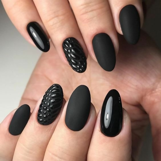 30 Creative Black Acrylic Nails Design Ideas to Try 31