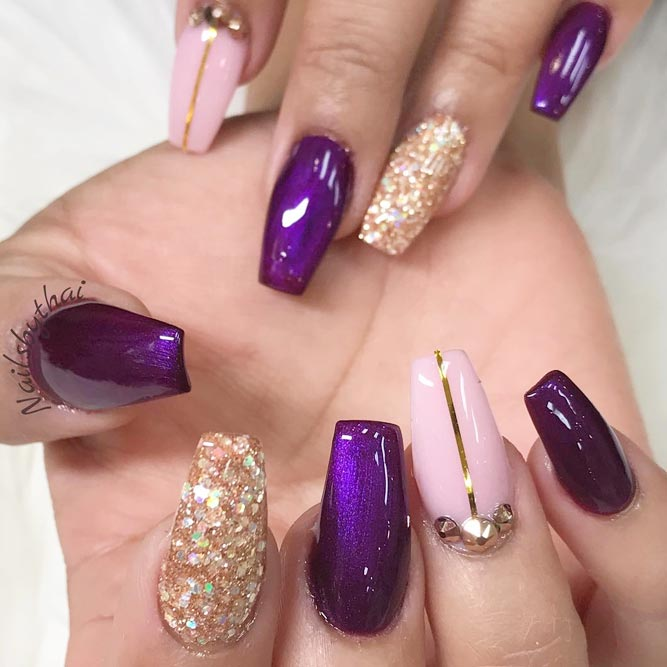 30 Elegant Purple Nails to Complement Your Outfits 21
