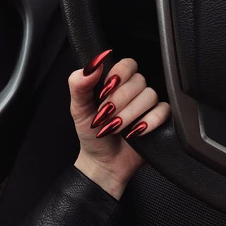 30 Cute Red Acrylic Nails to Embellish Your Hands 8