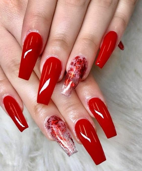 30 Cute Red Acrylic Nails to Embellish Your Hands 10