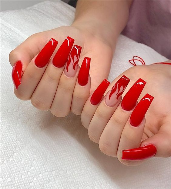 30 Cute Red Acrylic Nails to Embellish Your Hands 11