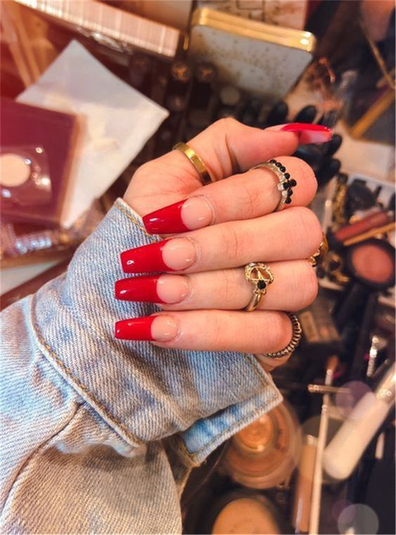 30 Cute Red Acrylic Nails to Embellish Your Hands 17