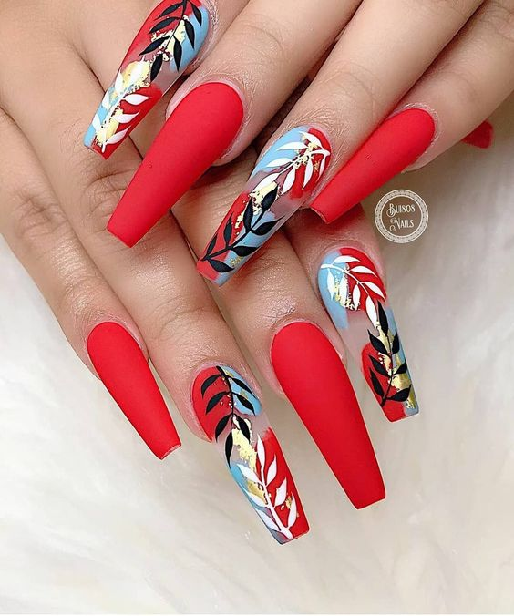 30 Cute Red Acrylic Nails to Embellish Your Hands 26