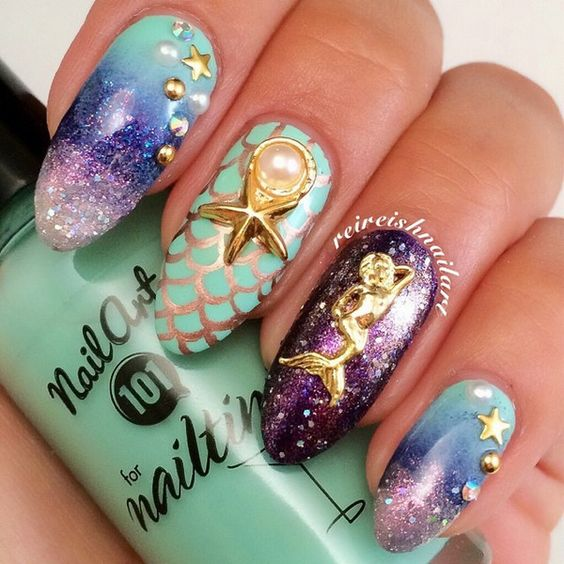 30 Mermaid Nails Design to Step-Up Your Mani Game 12