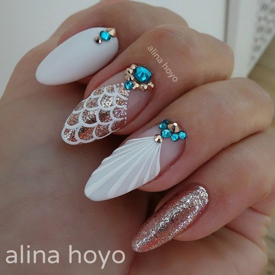 30 Mermaid Nails Design to Step-Up Your Mani Game 16