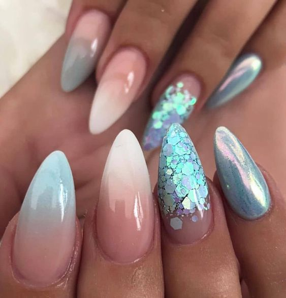 30 Mermaid Nails Design to Step-Up Your Mani Game 18