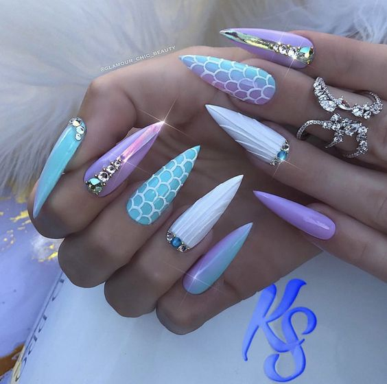 30 Mermaid Nails Design to Step-Up Your Mani Game 19
