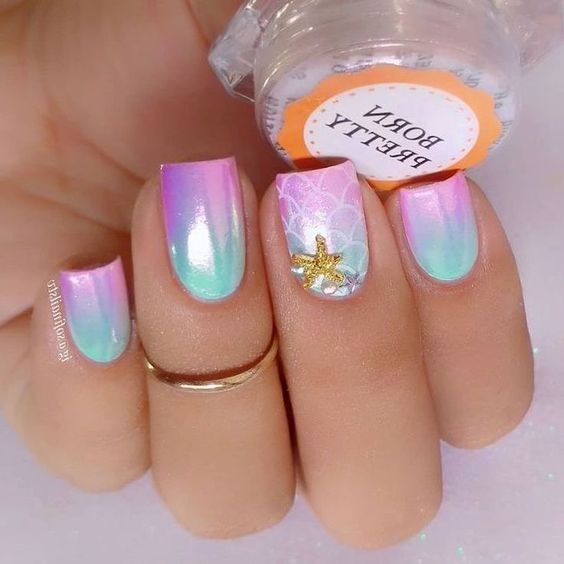 30 Mermaid Nails Design to Step-Up Your Mani Game 24