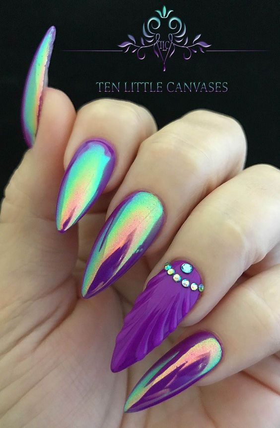 30 Mermaid Nails Design to Step-Up Your Mani Game 28
