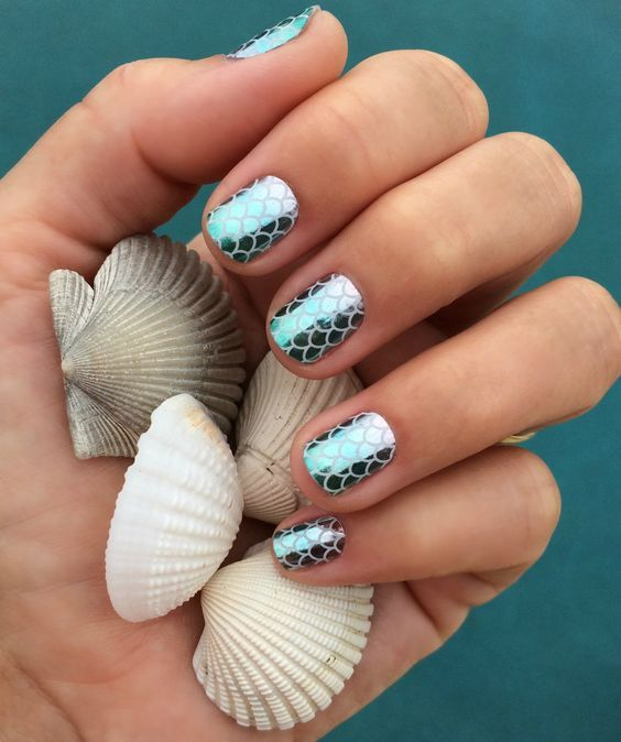 30 Mermaid Nails Design to Step-Up Your Mani Game 29