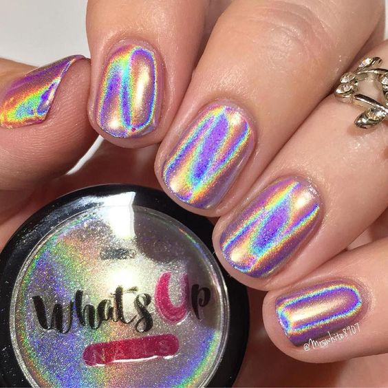30 Ways to Spice Up Holographic Nails Look 12