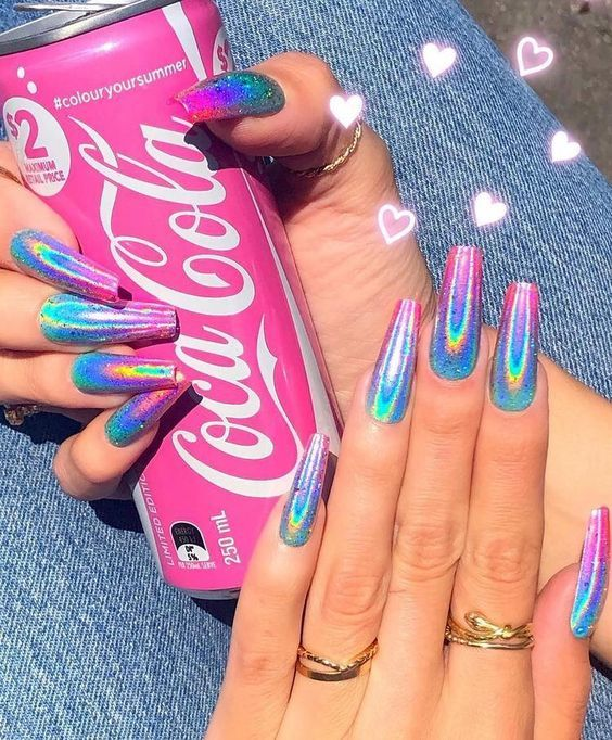 30 Ways to Spice Up Holographic Nails Look 28