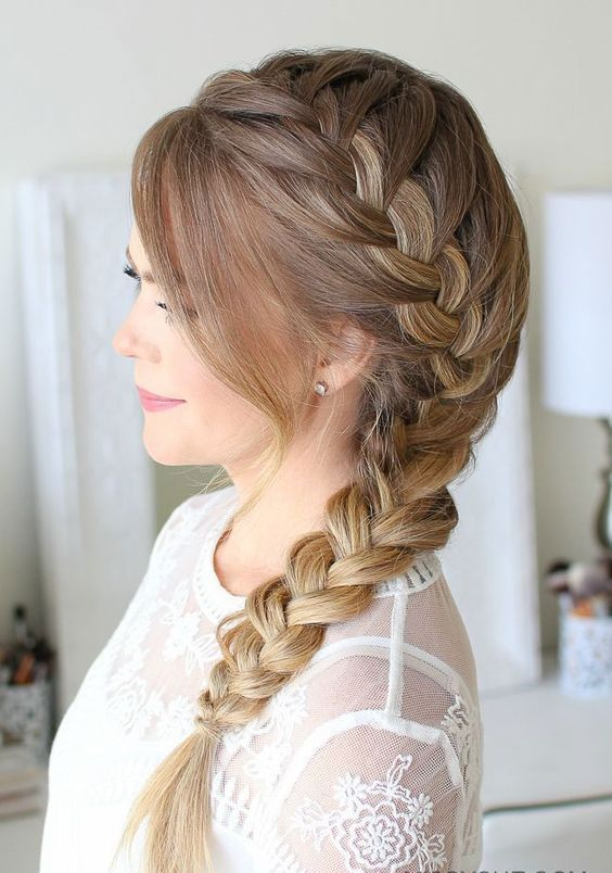 Hairstyles That'll Look Gorgeous With Your Easter Hat | Keep your hair tamed and secure in a bang-to-ends French braid that centers on a heavy-parted side. There's nothing cuter than a little braid peeping out from under your Easter hat. #southernliving #easter #partyideas