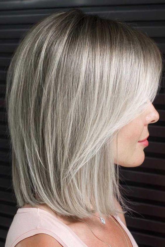18 Medium Length Hairstyles for Thick Hair #shoulderlengthhair Shoulder Length Lob With Layered Front #bob #mediumhair #layeredhair #bangs