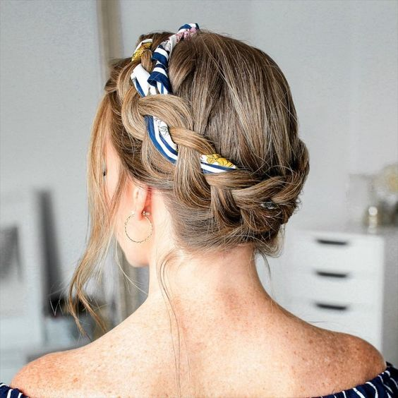 """Melissa Cook ( Missy ) on Instagram: """"Dutch Crown Braid w/ a Scarf ✨ Have you seen this video yet? I'm sharing 12 hairstyles using a hair scarf! 🎥 Comment below which hairstyle…"""""""
