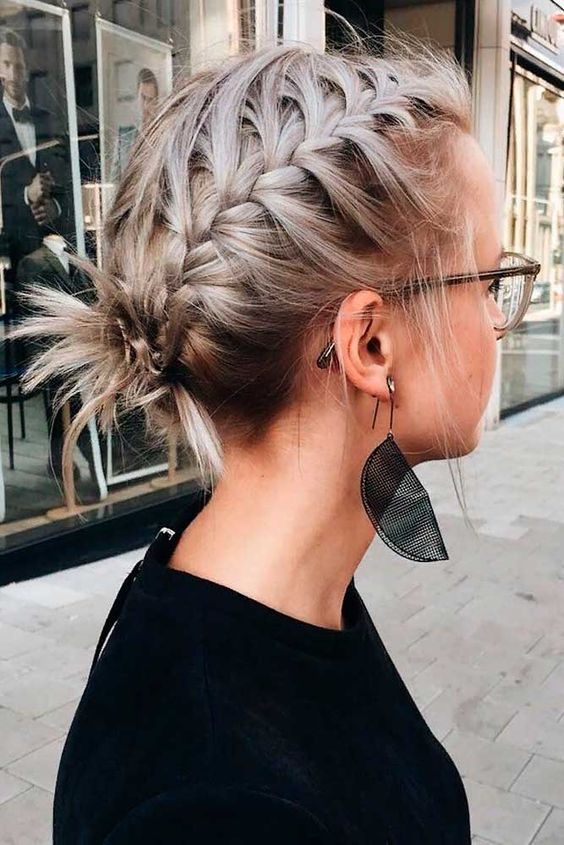 Braided Updo For Short Hair #braidedhair #shorthair ★  Discover trendy easy summer hairstyles 2019 here. We have pretty ideas for long, short, and for medium hair. #glaminati #lifestyle #summerhairstyles