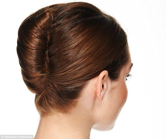 French Twist-- Tuck the loose ends of the hair inside the cone and use pins as needed to hold it in place and out of sight